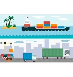 Delivery cargo truck and ship sea transportation vector