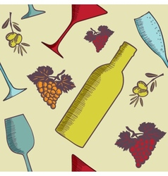 Background with wine bottles and glasses vector image