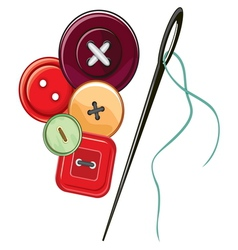 Needle and buttons vector