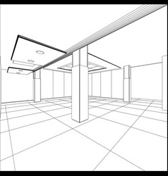Abstract modern office architecture design in 3d vector
