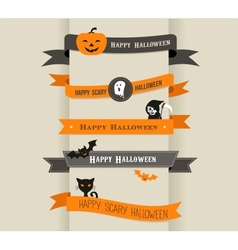 Happy Halloween - set of ribbons and icons vector image