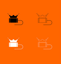 Lawn sprinklers black and white set icon vector