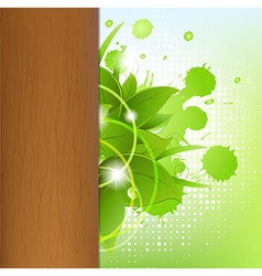 Eco wood background with leafs vector