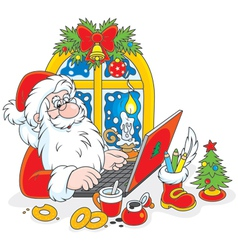 Santa Claus with his laptop vector image