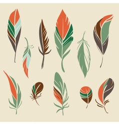 Set of hand drawn feathers vector