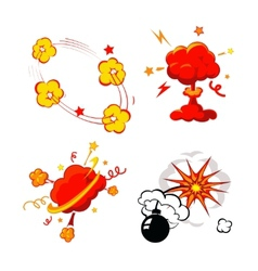 Comic book explosion bombs and blast set cartoon vector