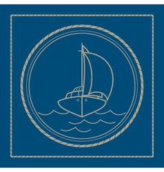 Marine emblem with yacht sailboat vector