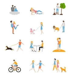 Set of images of couples in the flat style vector