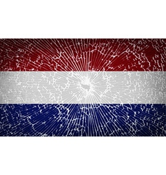 Flags netherlands with broken glass texture vector