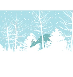 Deer walks in winter wood a vector