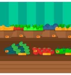 Background of vegetables and fruits on shelves in vector