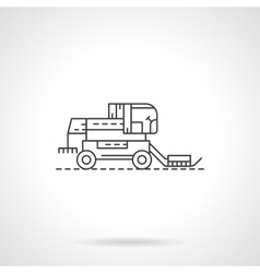 Harvester combine flat thin line icon vector