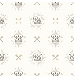 Seamless background with royal crown and arrows vector