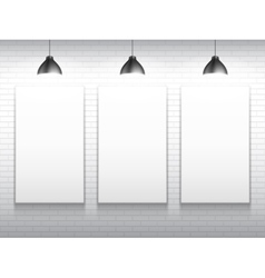 Three blank white poster templates vector
