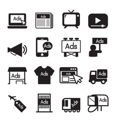 Advertise icon set vector