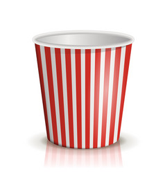 An empty red-and-white striped bucket of popcorn vector