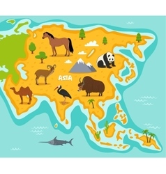 Asian map with wildlife animals vector