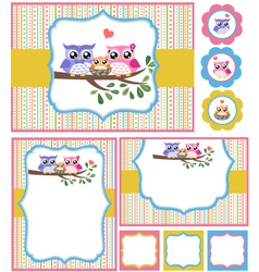 baby shower bird card set vector image