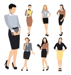Business woman silhouette set vector