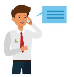 businessman making business call cartoon flat vector image