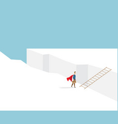 Businessman standing at cliff with ladder vector