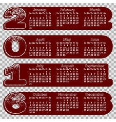 calendar 2016 concave contour figures Sunday vector image