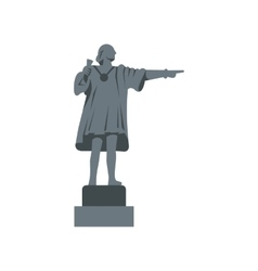 Christopher columbus statue icon flat style vector