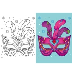 Coloring book of christmas purple carnival mask vector