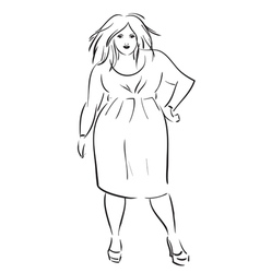 Fat elegant woman vector