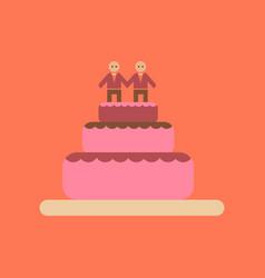 Flat icon on stylish background gay wedding cake vector