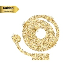 Gold glitter icon of school bell isolated vector
