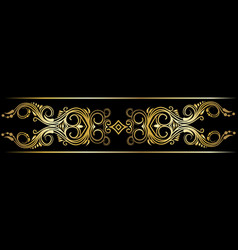 Gold indian line art border vector