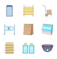 Grocery store icons set cartoon style vector image vector image
