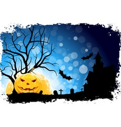 Grungy Halloween Background with Pumpkin vector image