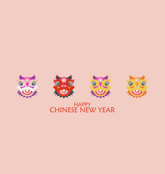 Happy chinese new year with dancing lions vector