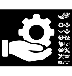 Mechanic gear service hand icon with tools vector