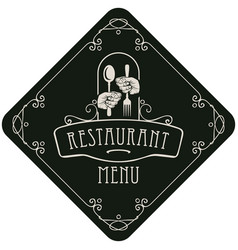 Menu for restaurant with cutlery in hands vector