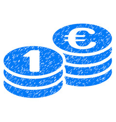 One euro coins grunge icon vector