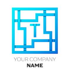 Realistic letter t logo in colorful square maze vector