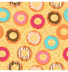 Seamless yellow background with different donuts vector image vector image