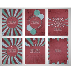 Set of vintage flyer template brochure cover vector
