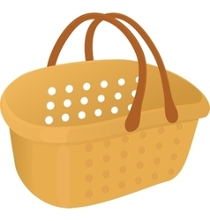 Shopping plastik empty yellow basket icon vector image