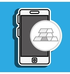 Smartphone with bars gold isolated icon design vector