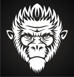 White monkey face vector