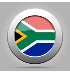 Metal button with flag - south africa vector