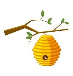 Beehive on tree icon cartoon style vector