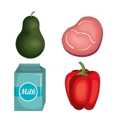 Set nutritive food isolated icons vector