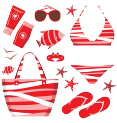 Fashionable set with a swimming suit vector