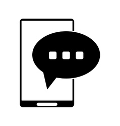 Silhouette smartphone bubble speech conversation vector