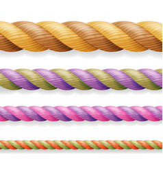 Realistic rope  different color thickness vector